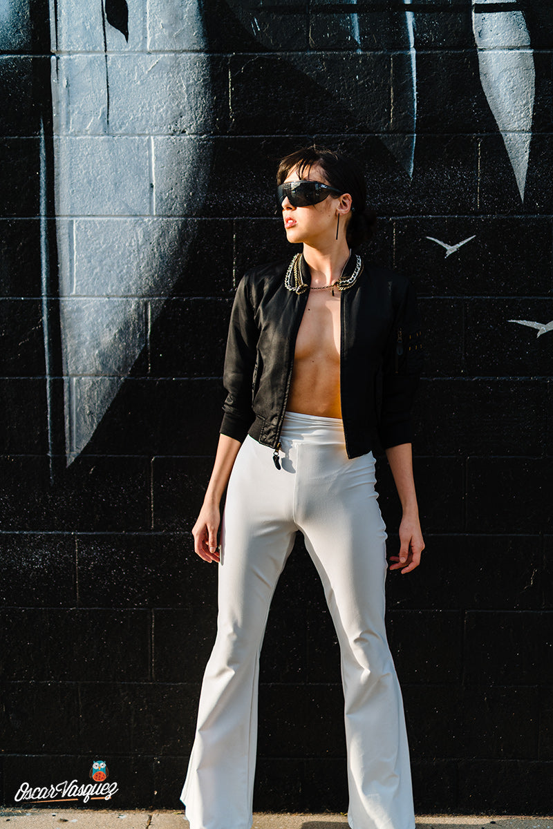 White Rolldown Flare Pants