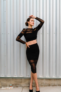 Straight Line Cutout Black Pencil Skirt