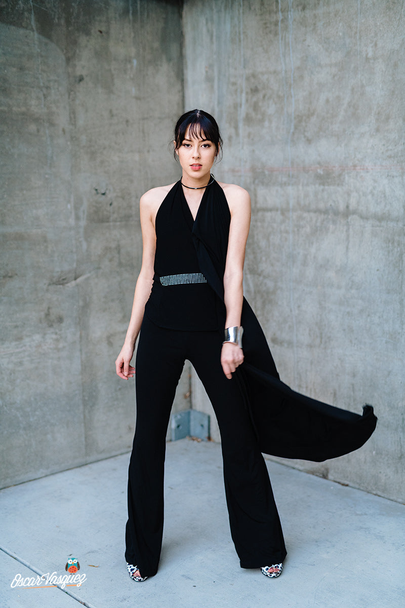 Black Rolldown Flare Pants