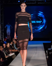 Load image into Gallery viewer, Straight Line Cutout Black Pencil Skirt