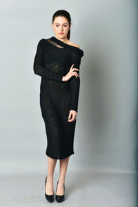 Asymmetric Midi Open Shoulder Knit Pencil Dress