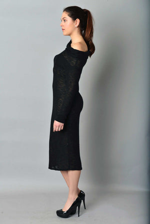 Asymmetric Midi Knit Pencil dress
