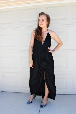 Plunging Halter Hi-Low Maxi Dress