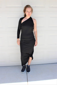 Asymmetric One-Sleeve Jersey Dress