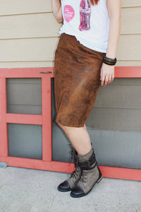 Faux Leather Sand Pencil Skirt