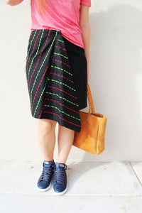 Embroidered Wrap Midi Skirt