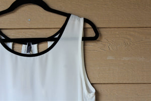Relaxed Oval-Neck Tank Top With Black Trip