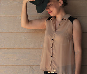 Sleeveless Chiffon Button-Front Top