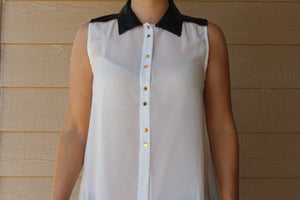 Sleeveless Button Up Chiffon Top