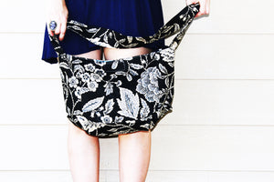 Bucolic Crossbody Floral Black Messenger Bag