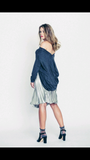 Grey Knit Open Back Long Sleeve Top