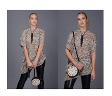Load image into Gallery viewer, Asymmetrical Rayon Brown Burnout Tunic