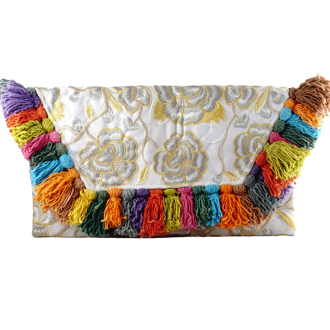 tassel clutch clutches pompom colorful rainbow revolve showpo handmade handicraft embroidered fairtrade bag handbags boho bohemian vintage fashionable chic glamorous glam fun flower white