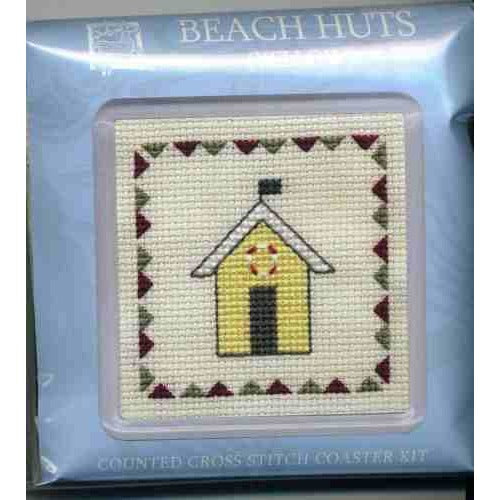 Textile Heritage Beach Huts Yellow Coaster