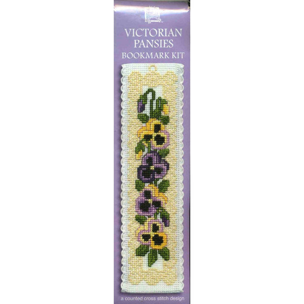 Textile Heritage Victorian Pansies Flower Bookmark Cross Stitch Kit