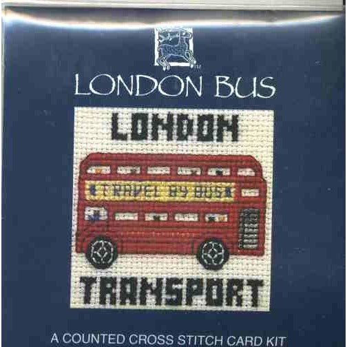 Textile Heritage London Bus Miniature Card Cross Stitch Kit