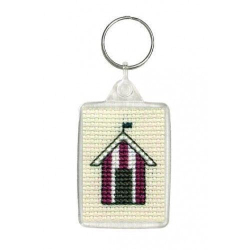 Textile Heritage Beach Hut Keyring Counted Cross Stitch Kit
