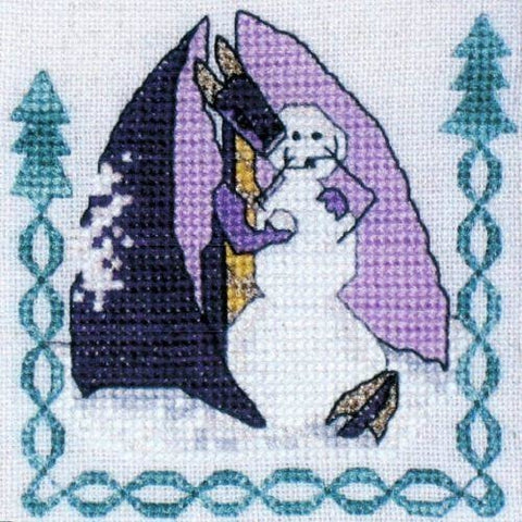Snowfight Snowman Violet Dragon Christmas Cross Stitch Pattern Cross Eyed Kat