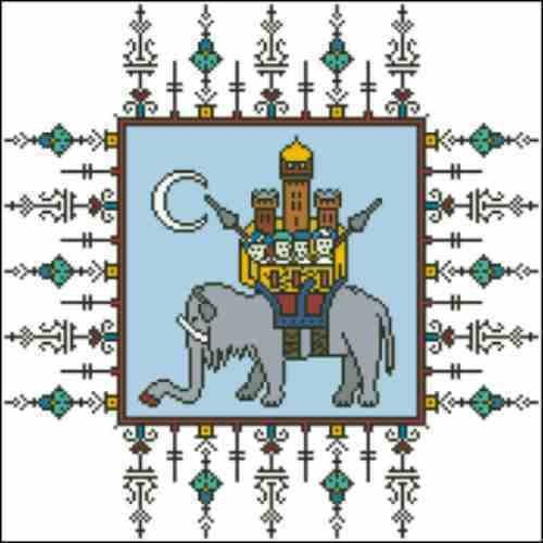 Arelate Studio Midnight at the Oasis Elephant Castle Cross Stitch Pattern