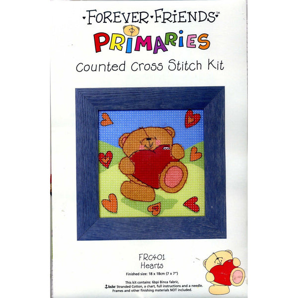 Binca Beginner Cross-stitch Kit Forever Friends Hearts