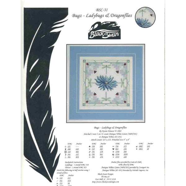 Black Swan Designs Bugz - Ladybugs & Dragonflies Cross Stitch Pattern