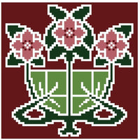 Landmark Tapestries & Charts Arts & Crafts Begonia Pincushion Cross Stitch Pattern