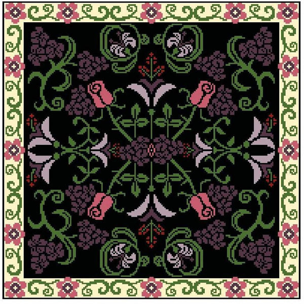 Landmark Tapestries & Charts Arts & Crafts Rose Pillow Cross Stitch Pattern