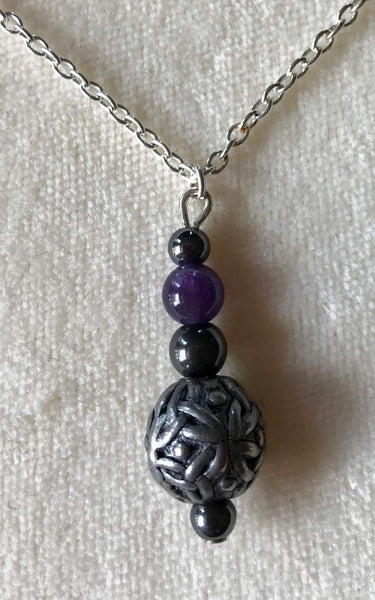 Black Dragon Crafts Celtic Pewter Pendant Amethyst