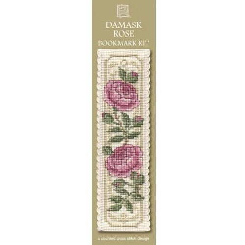 Textile Heritage Damask Rose Bookmark Cross Stitch Kit