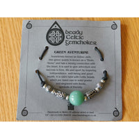 Celtic Pewter Necklace Aventurine Gem Choker Urn Ball