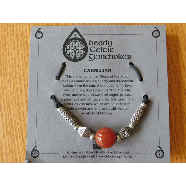 Celtic Pewter Necklace Carnelian Gem Choker