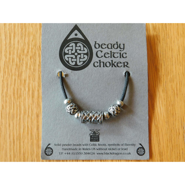 Celtic Pewter Bead Necklace Choker Drum Sphere