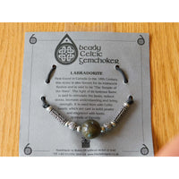 Celtic Pewter Necklace Labradorite Gem Choker