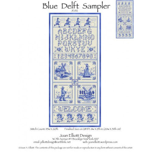 Joan Elliott Blue Delft Sampler Cross Stitch Pattern