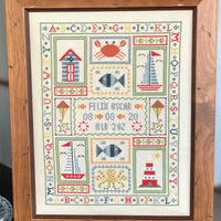 Historical Sampler Company Boat Birth Sampler Cross Stitch Pattern