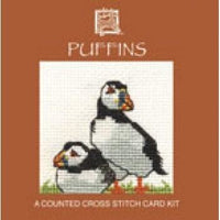 Textile Heritage Puffins Miniature Card Cross Stitch Kit