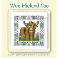 Textile Heritage Wee Heiland Coo Coaster Cross Stitch Kit