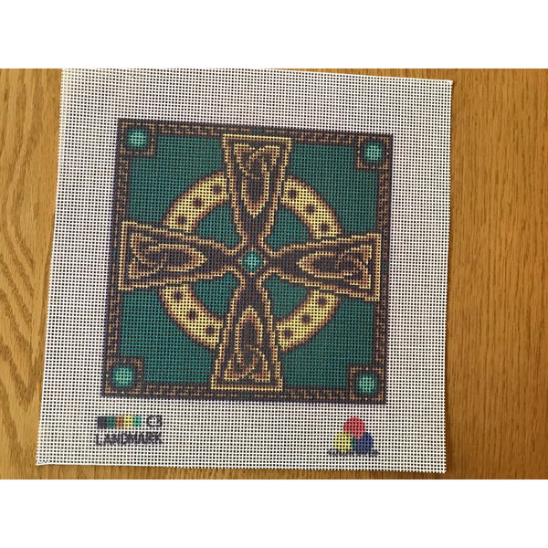 Celtic Cross Needlepoint Canvas Jade