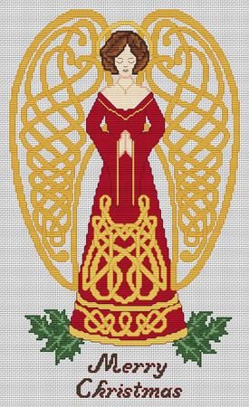 Artists Alley Christmas Celtic Angel Cross Stitch Pattern
