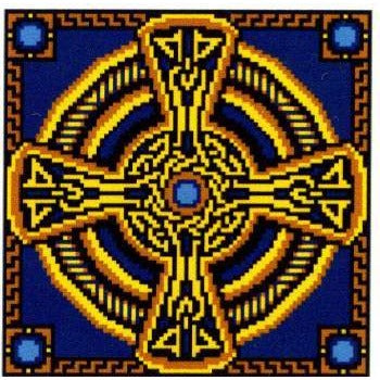 Landmark Tapestries & Charts - Sapphire Celtic Cross - Cross Stitch Pattern