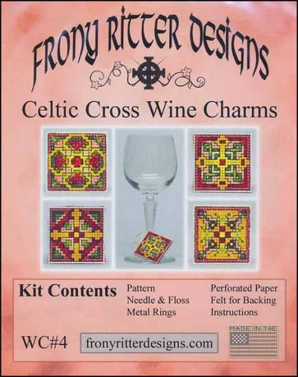 Frony Ritter Celtic Cross Wine Charms Cross Stitch Kit