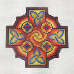 Celtic Sun Cross Hand Painted Needlepoint Canvas