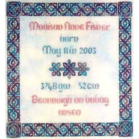 Dinky Dyes Celtic Birth Sampler Cross Stitch Pattern