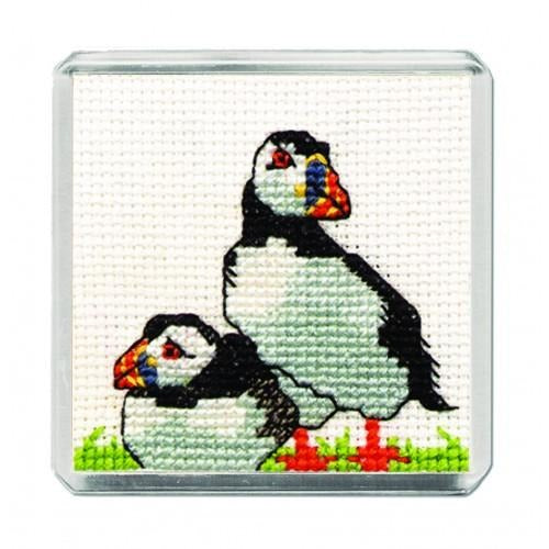 Textile Heritage Puffin Fridge Refrigerator Magnet Cross Stitch Kit