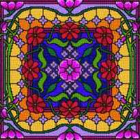 Landmark Tapestries & Charts Colored Glass Pillows - Radiating - Cross Stitch Pattern