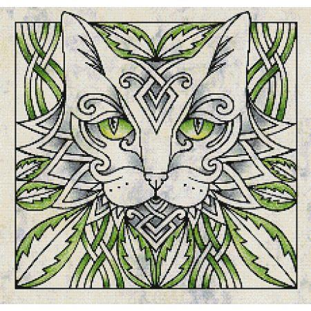 Green Celtic Cat - Marjory Tait - Cross Stitch Pattern