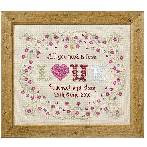Historical Sampler Company All You Need is Love Wedding Sampler Cross Stitch Pattern