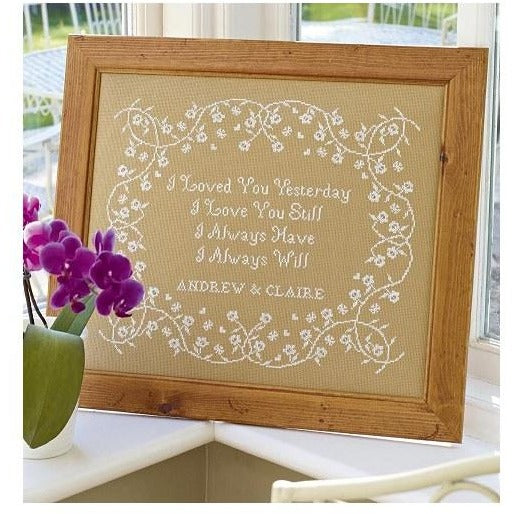 Historical Sampler Company I Loved You Wedding Sampler Cross Stitch Pattern