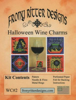 Frony Ritter Halloween Wine Charms Cross Stitch Kit cross stitch design.