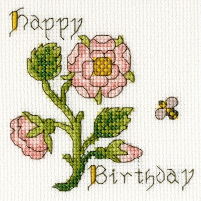 Bothy Threads Rose Happy Birthday Greetings Card Cross Stitch Kit